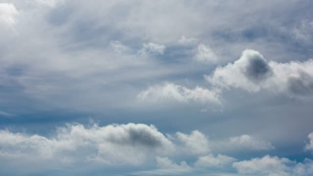 timelapse aerial shot of clouds rolling over blue sky - roll over stock videos and b-roll footage