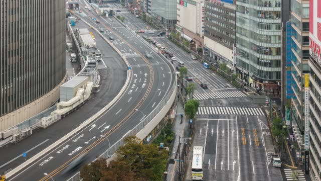 time-lapse: aerial view expressway cityscape at ginza tokyo japan - kanto region stock videos and b-roll footage