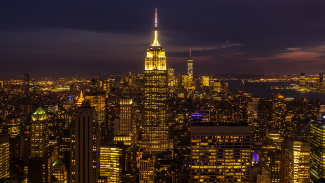 time-lapse: aerial view new york city cityscape usa twilight sunset - river hudson stock videos & royalty-free footage