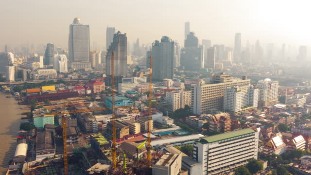 4k - time-lapse : aerial view of bangkok city in the morning, thailand - ho chi minh city stock videos & royalty-free footage
