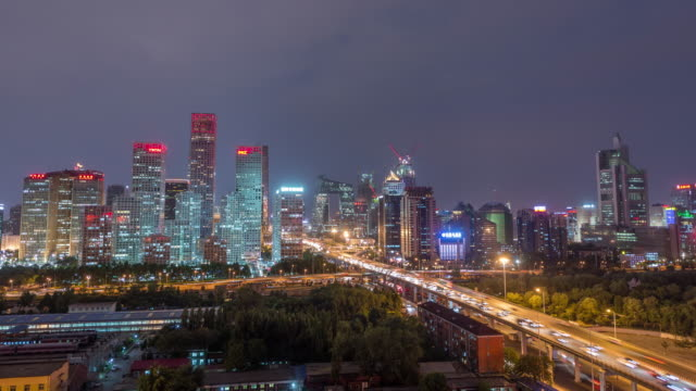 Timelapse - Aerial view of Beijing CBD area at Night