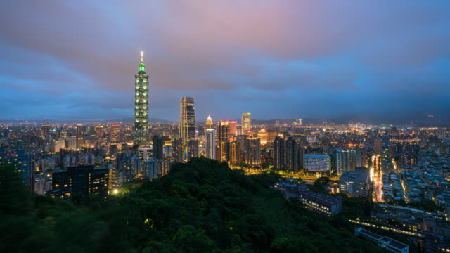 time-lapse aerial view of business district in city of taipei, taiwan at night - finance and economy stock videos & royalty-free footage