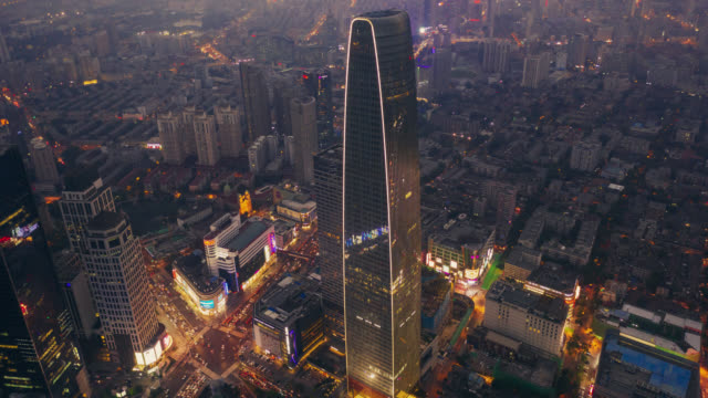 timelapse aerial view of business district - shanghai stock videos & royalty-free footage