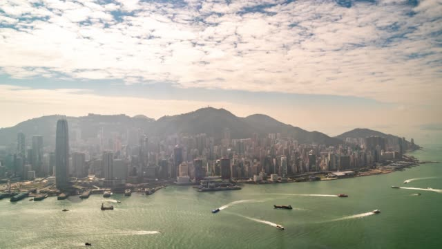 time-lapse: aerial view of central hong kong downtown - ferry terminal stock videos & royalty-free footage