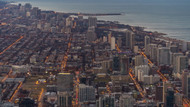 time-lapse: aerial view of chicago skyline cityscape looking river north, il usa - willis tower stock videos & royalty-free footage