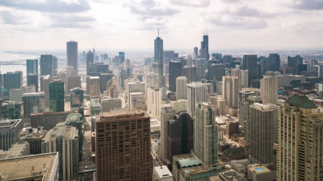 time-lapse: aerial view of chicago skyline cityscape looking south loop, il usa - willis tower stock videos & royalty-free footage
