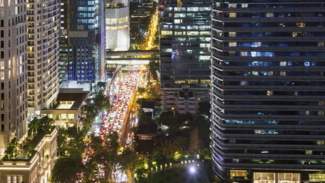 stockvideo's en b-roll-footage met time-lapse: luchtfoto van stadsgezicht bij nacht. - 1991