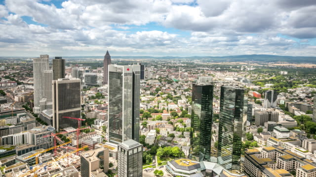 4k time-lapse: aerial view of frankfurt cityscape - frankfurt main stock videos and b-roll footage