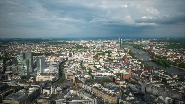 HD Time-lapse: Aerial view of Frankfurt Cityscape