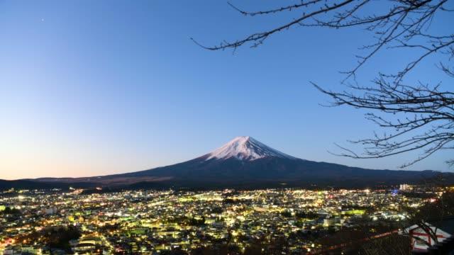 Time-lapse: lucht mening van berg Fuji, Fujiyoshida