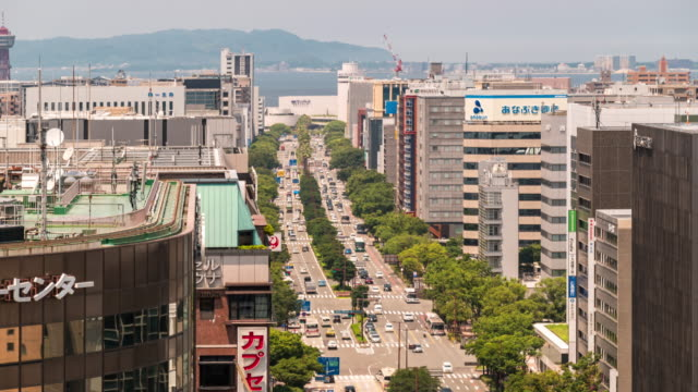 time-lapse aerial view of fukuoka cityscape downtown at hakata fukuoka - fukuoka prefecture stock videos & royalty-free footage