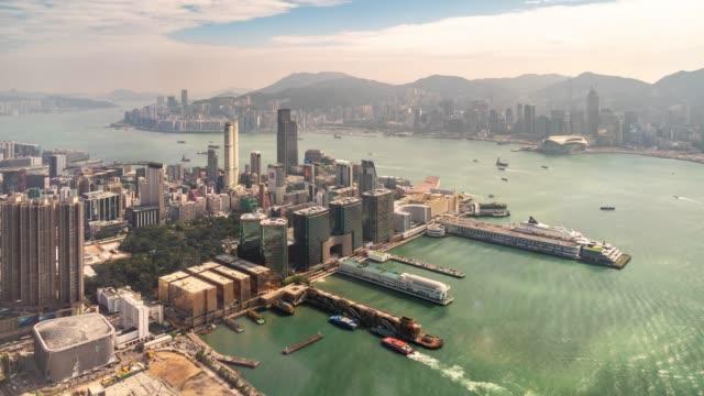 zeitraffer: luftaufnahme der hafenstadt kowloon hongkong - high dynamic range imaging stock-videos und b-roll-filmmaterial