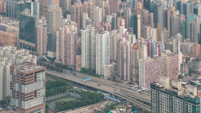 time-lapse: aerial view of kowloon hong kong - high dynamic range imaging stock videos and b-roll footage