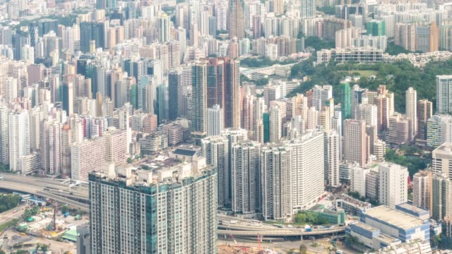 Time-lapse: Aerial view of Kowloon Hong Kong