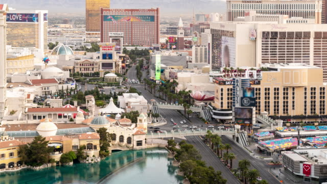 time-lapse aerial view of las vegas strip in nevada usa sunrise dawn - dawn stock videos & royalty-free footage