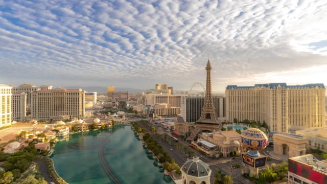 time-lapse aerial view of las vegas strip in nevada usa sunrise dawn - las vegas stock videos & royalty-free footage