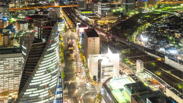 Time-lapse: Aerial view of Nagoya Cityscape at night Japan