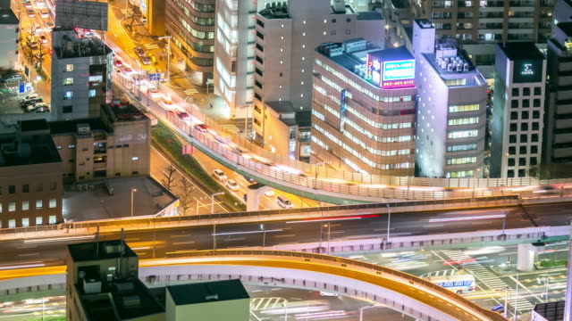 夜日本で名古屋都市高速道路の時間経過: 空撮