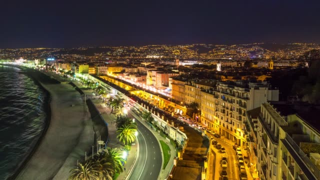 Time-lapse: Flygfoto över Nice hamn franska Rivieran Frankrike