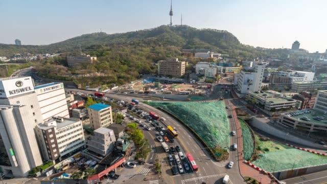 ソウルの n ソウルタワーの時間経過: 空撮 - 韓国点の映像素材/bロール