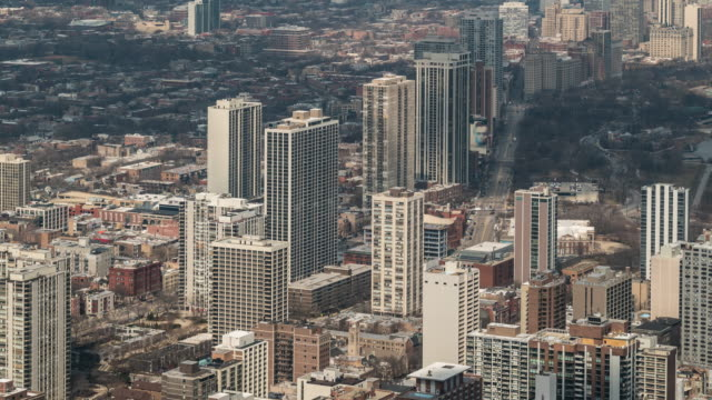 time-lapse: aerial view of old town chicago skyline cityscape, il usa - old town stock videos & royalty-free footage