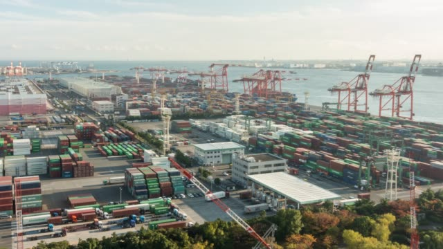 Time-lapse: aerial view of Port Working Cargo Container in Odaiba Tokyo Japan