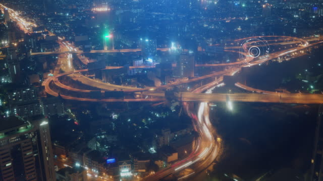 timelapse aerial view of rush hour traffic on expressway - internet of things stock videos & royalty-free footage