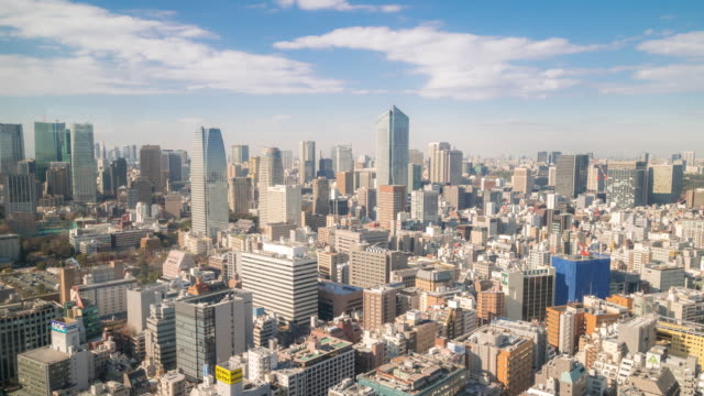 Time-lapse: Luchtfoto uitzicht van Shinjuku Tokyo Cityscape
