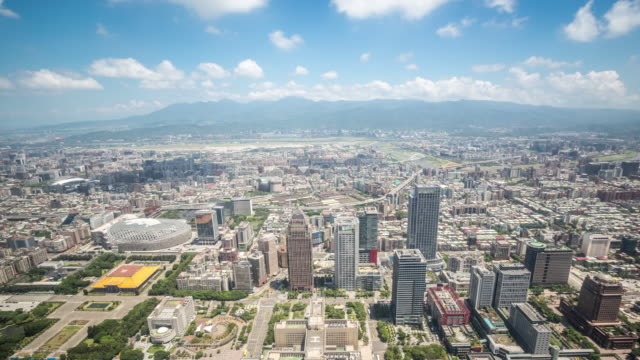 4k time-lapse: aerial view of taipei cityscape taiwan - taipei stock videos & royalty-free footage