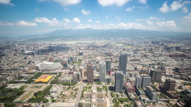 4K Time-Lapse: Aerial view of Taipei Cityscape Taiwan