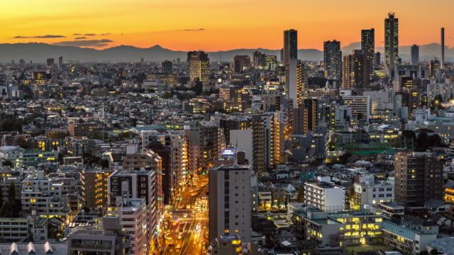 Time-lapse: Luchtfoto uitzicht van Tokio Cityscape en skyline van Bunkyo
