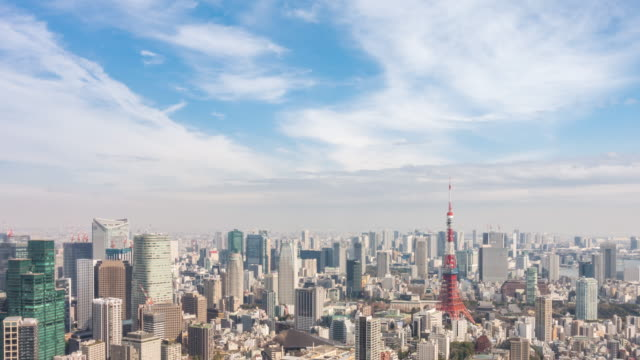 タイムラプス: 東京タワーの空中風景と街並み - 合成画像点の映像素材/bロール