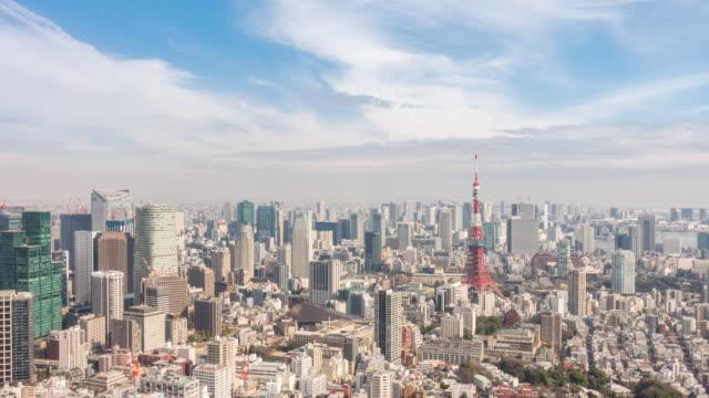 vídeos y material grabado en eventos de stock de time-lapse: vista aérea de la torre de tokio y cityscape japan - tokio