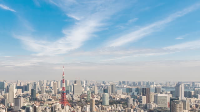 time-lapse: aerial view of tokyo tower and cityscape japan - tokyo japan stock videos & royalty-free footage