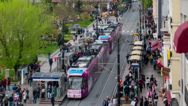 timelapse : aerial view of tourist crowd at the old city of istanbul, turkey - commercial land vehicle stock videos & royalty-free footage