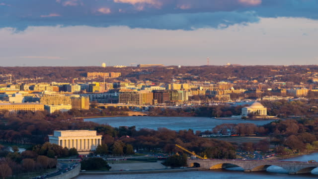 time-lapse: aerial view of washington dc national mall usa at sunset twilight - jefferson memorial stock videos & royalty-free footage