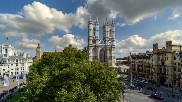 Time-lapse aerial view of Westminster Abbey and Big Ben