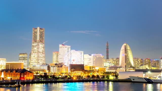 hd time-lapse: aerial view of yokohama downtown at dusk - yokohama stock videos and b-roll footage