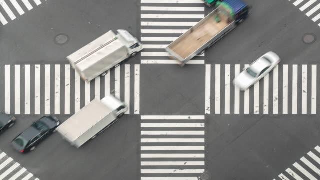 Time-lapse: Luchtfoto voetgangers oversteken op Ginza Crossing Tokyo Japan