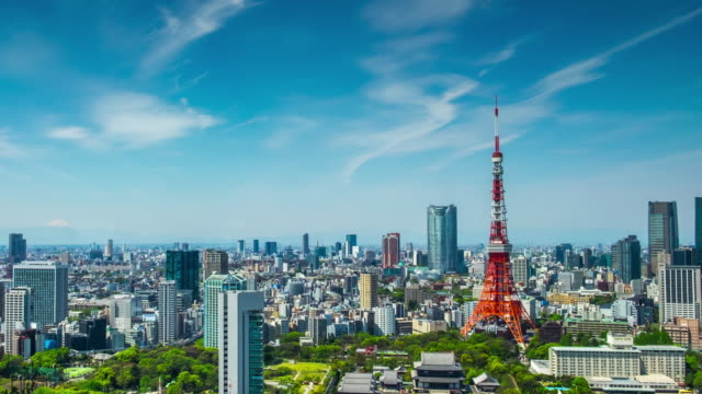 4K Time-lapse: Aerial view Tokyo cityscape Japan