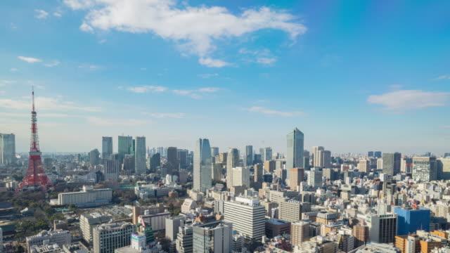 4 k time -lapse (低速度撮影):航空写真東京の景観に bkue スカイ(パン) - オフィスビル点の映像素材/bロール