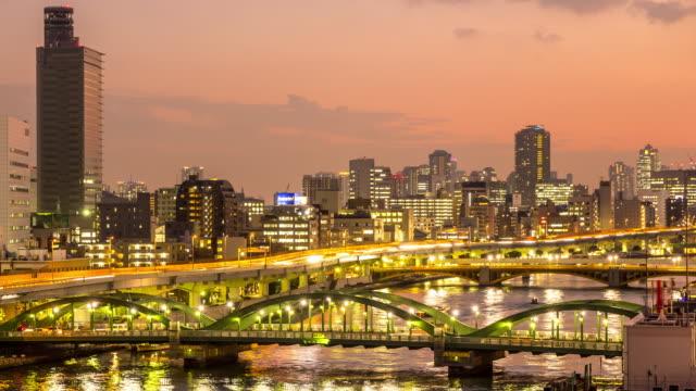 4 K Time -lapse (低速度撮影):上空から見た東京の夜の街並みの景観