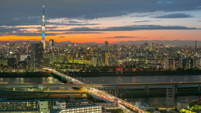 Zeitraffer: Luftaufnahme Japan Tokyo Skytree Sonnenuntergang