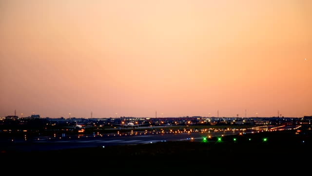 time-lapse : airplane is landing pearson international airport at toronto canada - toronto stock videos & royalty-free footage