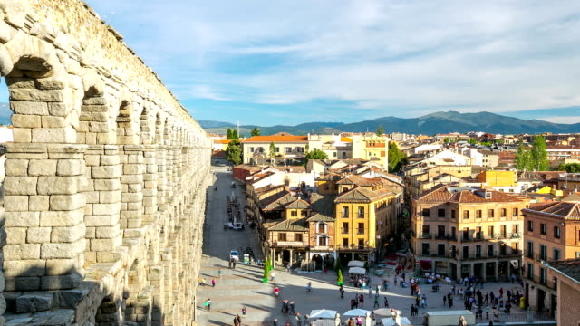 HD Timelapse: ancient aqueduct in Segovia Spain