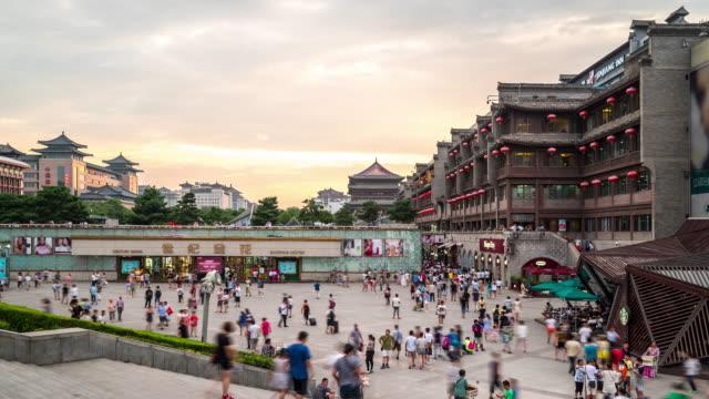 タイムラプス:古代西安ドラムタワーグルオ中国 - 中国人点の映像素材/bロール