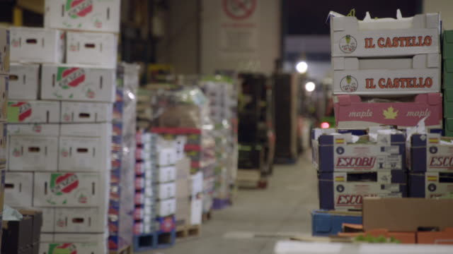 time-lapse and real time shots of busy new spitalfields fruit and vegetable market in the early morning - beladen stock-videos und b-roll-filmmaterial