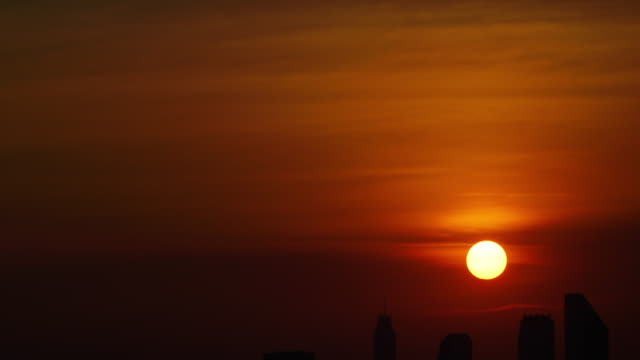 time-lapse and tilt down: sunset of cityscapes in bangkok, thailand. - sunset to night stock videos & royalty-free footage