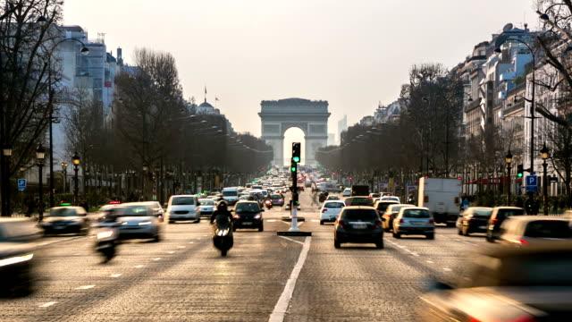 HD Timelapse:  Arc de Triomphe, les Champs-Élysées, Paris, France