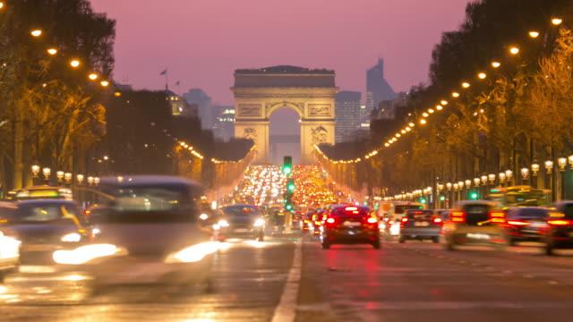 4K Timelapse: Arc of Triomphe Champs Elysees Paris city, France